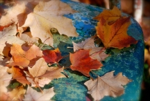 blue chair fall leaves