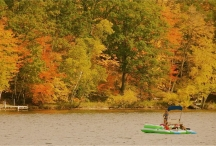 fall lake with rafters