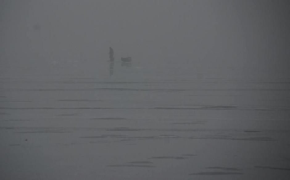 foggy ice fishing